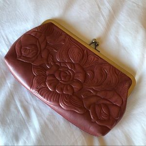 Patricia Nash dusty red clutch
